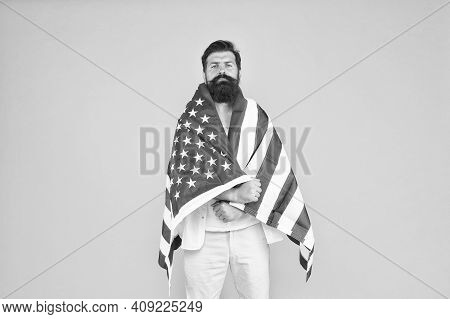 Cultural Identity. American Man Celebrate Independence Day. July 4th. American Citizenship. Hipster