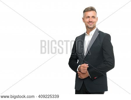 Classic Is Best And Most Useful. Fashion Look Of Handsome Man. Bachelor Fashion. White Collar. Forma