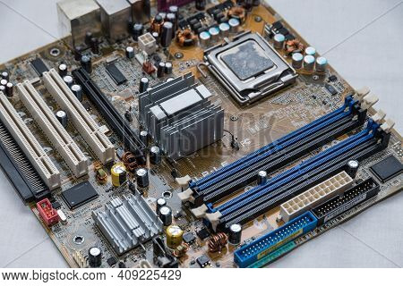Computer Technology Hardware Part Mainboard, Processor, Chip, Capacitor, Slots