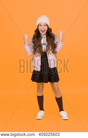 Finally Succeed. Modern Outfit. Adorable Schoolgirl Winter Outfit. Schoolgirl Tidy Outfit With Backp
