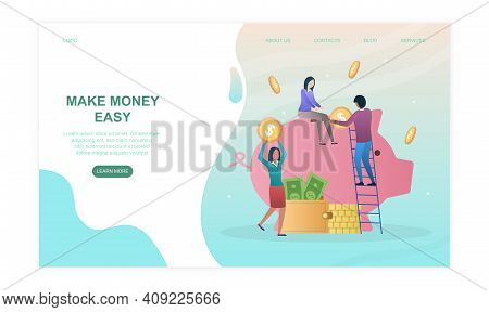 Male And Female Characters Are Collecting Coins From Piggy Bank. Concept Of Financial Deposit Earnin