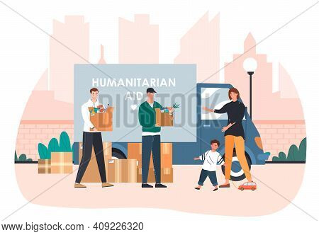 Two Male Vounteer Giving Help Boxes To Refuges From Humanitarian Aid Van. Concept Of Humanitarian Ai