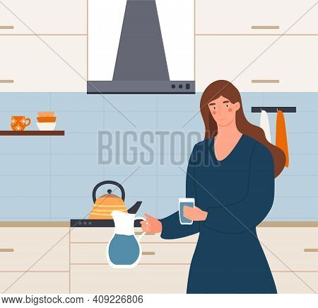 Female Character Is Holding A Glass Of Water And A Pitcher To Drink Water In The Kitchen. Thirsty Yo