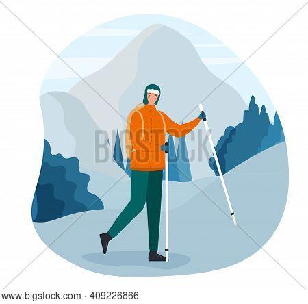 Male Character Is Hiking Alone In Winter. Man Warm Clothes Is Hiking Outdoors With Mountains At The
