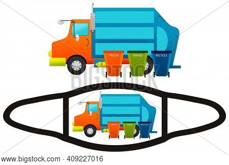 Fun Trash Truck and Garbage Can Face Mask Design and Mockup with Clipping Path Isolated on White Background