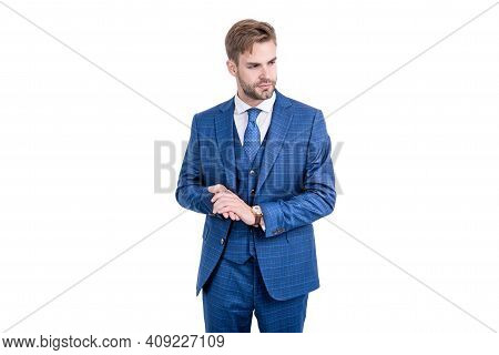 White Collar Wear Navy Three-piece Suit In Formal Fashion Style Isolated On White, Wardrobe.