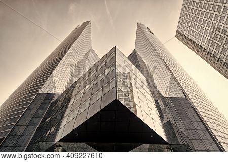 Paris, France - September 29, 2017: Grey Glass Buildings. Tower Building In La Defense. Building Con