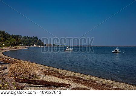 Tsawwassen Beach With High Tide,  Sea Beach, Hotel With Marina Yacht And Motorboats, Delta, British
