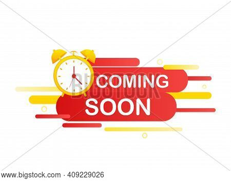 Flat Illustration Of Coming Soon Template On White Backdrop. Icon For Promotion Design. Coming Soon.