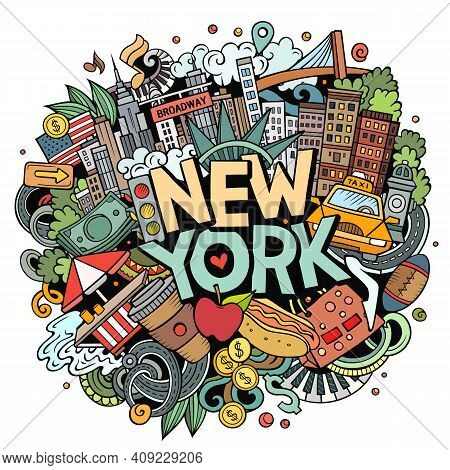 New York Hand Drawn Cartoon Doodle Illustration. Funny City Design. Creative Art Vector Background.