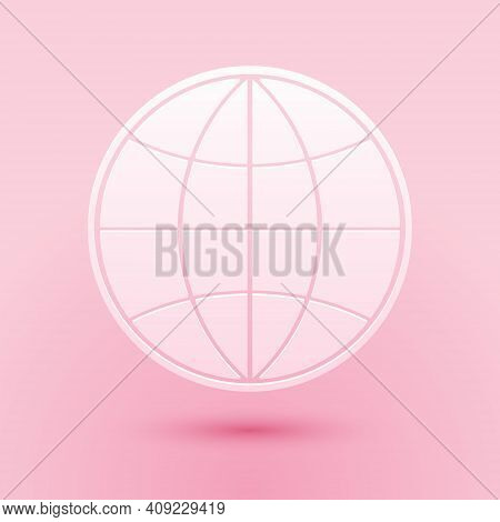 Paper Cut Earth Globe Icon Isolated On Pink Background. World Or Earth Sign. Global Internet Symbol.