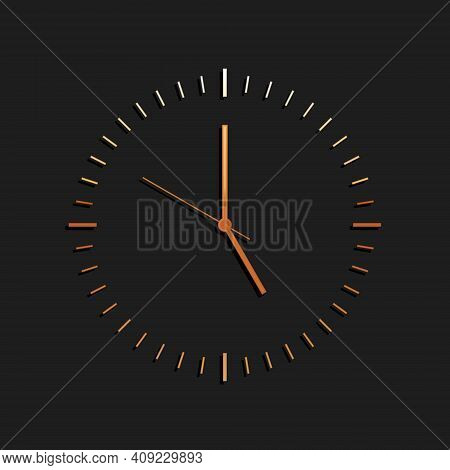 Gold Clock Icon Isolated On Black Background. Time Icon. Long Shadow Style. Vector