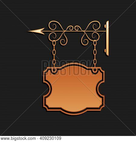 Gold Vintage Street Signboard Hanging On Forged Brackets Icon Isolated On Black Background. Suitable