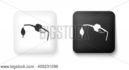Black And White Bio Fuel Concept With Fueling Nozzle And Leaf Icon Isolated On White Background. Nat