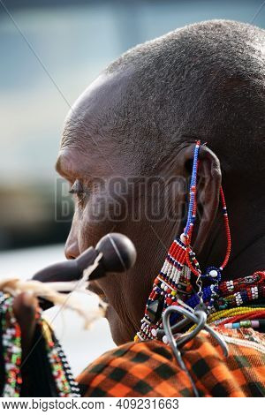 Masai Mara, Kenya; 17-08-2018:  Unknown Native Woman From A Masai Tribe In Kenya