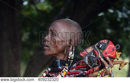 Masai Mara, Kenya; 17-08-2018: Unknown Native Woman From A Masai Tribe In Masai Mara, Kenya