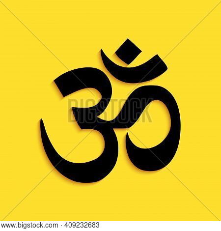 Black Om Or Aum Indian Sacred Sound Icon Isolated On Yellow Background. The Symbol Of The Divine Tri