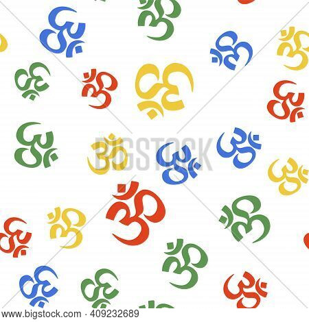 Color Om Or Aum Indian Sacred Sound Icon Isolated Seamless Pattern On White Background. The Symbol O