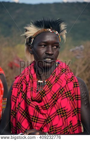 Masai Mara, Kenya; 16-08-2018; Unknown Native Man With Traditional Tribal Clothes From A Masai Tribe