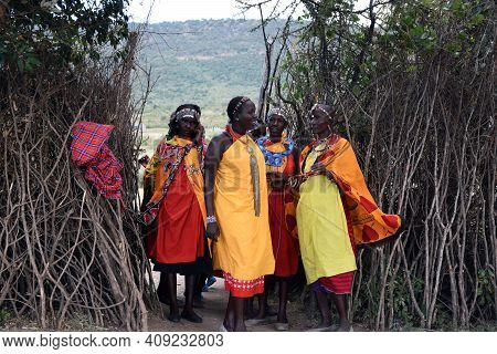 Masai Mara, Kenya; 16-08-2018: Unknown Natives Womans From A Masai Tribe In Kenya