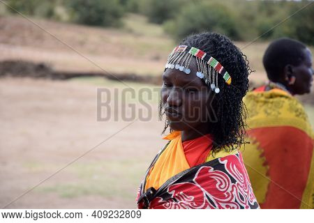 Masai Mara, Kenya; 16-08-2018: Unknown Woman From A Masai Tribe In Kenya