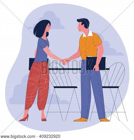 Businesswoman And Businessman Shaking Hands. Concept Business Illustration. Young Man And Woman Conf