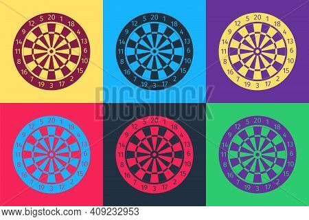 Pop Art Classic Darts Board With Twenty Black And White Sectors Icon Isolated On Color Background. D