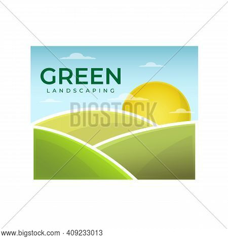 Landscaping And Gardening Logo Design Vector Image. Green Lanscape Meadow Scenery For Gardening And