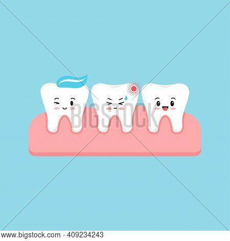 Cute Tooth With Ache Pain And Healthy In Gum Isolated On Blue Background. Sick Kids Teeth, Dent Hygi