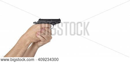 Objects Hands Action - Hand Holds A Gun Isolated White Background.