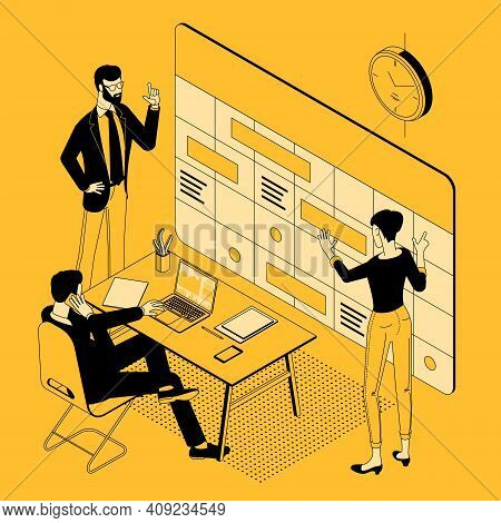 Planning Schedule And Calendar Timeline Isometric Vector Concept. Time Management, Productivity, Eff