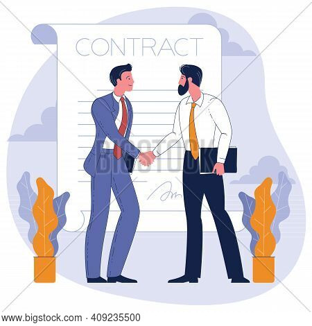 Businessmen Shaking Hands. Concept Business Illustration. Young Man And Woman Confirming The Agreeme