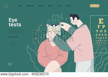 Medical Tests Template - C -modern Flat Vector Concept Digital Illustration Of Eye Test Procedure -a