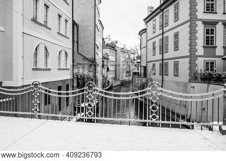 Winter In Prague Venice. Residential Houses At Devils Stream Or Devils Channel, Czech: Certovka, Nea
