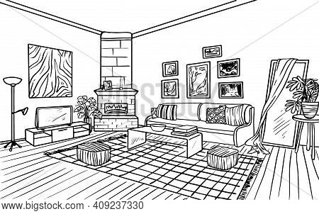 Living Room Interior, Coloring Book, Coloring Page, Outline Black And White Sketch Drawn By Hand Iso