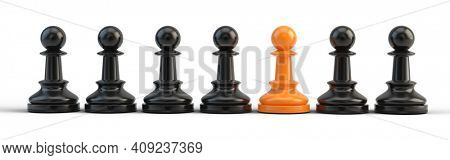 Standing out from the crowd, Leadership, think different, individuality concept. Unique Orange chess pawn. 3d rendering