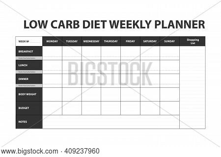 Dark Simple Diet Weekly Planner Isolated On White Background. Food Menu Plan For Diet. Daily Schedul