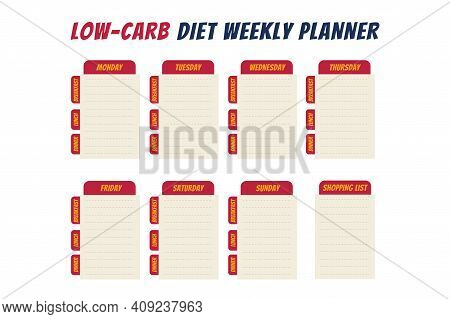Comics Text Diet Weekly Planner Isolated On White Background. Food Menu Plan For Diet. Daily Schedul