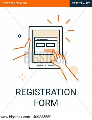 Site Registration Form Icon. Tablet In Hand With A Registration Form On The Application Outline Icon