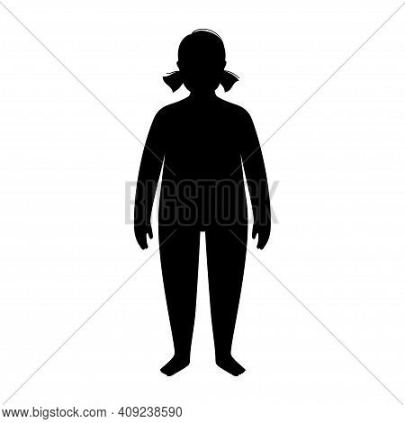 Woman Or Girl Silhouette With Obese Figure. Female Person With Overweight. High Bmi Range. Adult Or