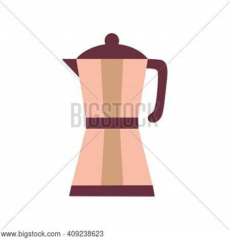 Retro Coffee Geyser Maker, Kitchen Utensil, Vector Illustration, Cartoon Vintage Flat Coffee Maker I