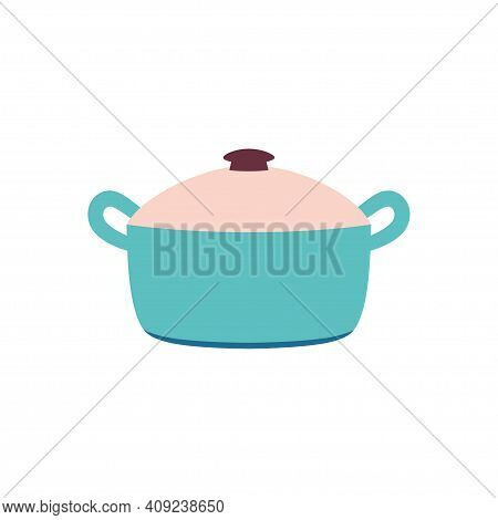 Cartoon Pan Isolated On White, Colored Steel Cookware, Big Utensil With Lid For Boiling, Flat Kitche