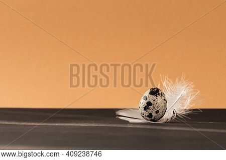 Creative Mockup Of Quail Eggs On A Brown Background. Quail Eggs Pattern. Happy Easter Concept. Minim