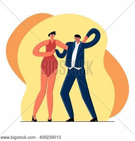 Vector Flat Image Young Couple Dancing Salsa.