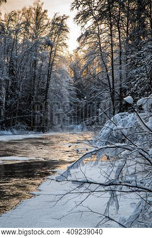 The Wild Frozen Small River In The Winter Wood, The Wild Nature At Sunset, The River Of Red Color, I