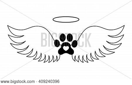 Dogs Paw With Angel Wings, Halo And Heart Inside. Pet Memorial Concept. Printable And Cuttable Graph