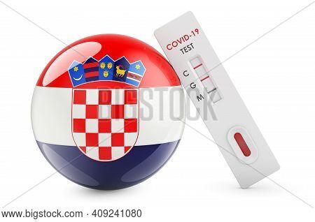 Diagnostic Test For Coronavirus In Croatia. Antibody Test Covid-19 With Croatian Flag, 3d Rendering