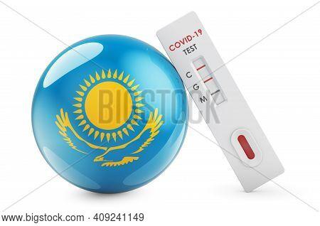 Diagnostic Test For Coronavirus In Kazakhstan. Antibody Test Covid-19 With Kazakh Flag, 3d Rendering