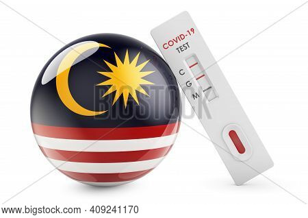 Diagnostic Test For Coronavirus In Malaysia. Antibody Test Covid-19 With Malaysian Flag, 3d Renderin