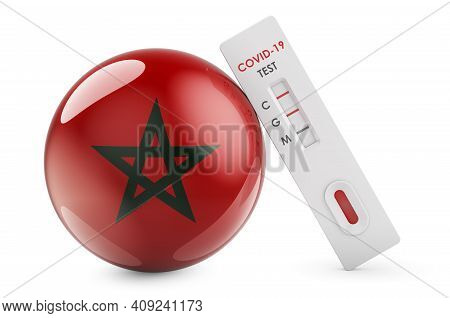 Diagnostic Test For Coronavirus In Morocco. Antibody Test Covid-19 With Moroccan Flag, 3d Rendering